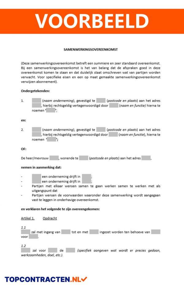 Samenwerkingsovereenkomst voorbeeld