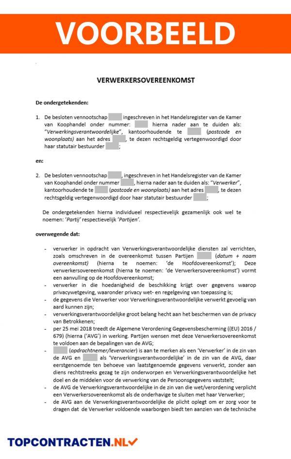 Verwerkersovereenkomst voorbeeld